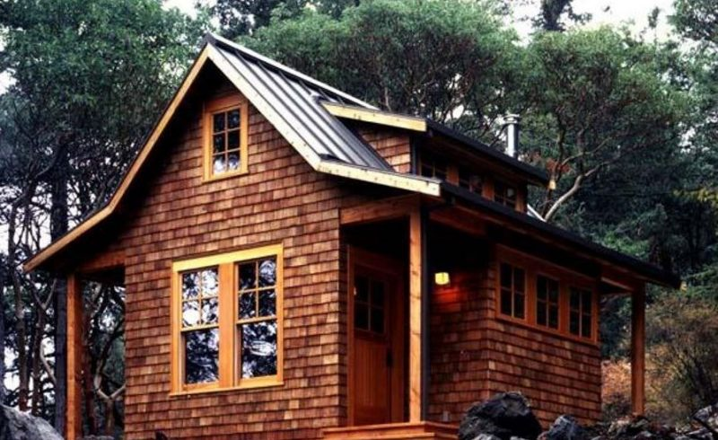 wooden off grid home in the woods